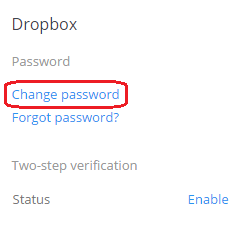 Dropbox Password Change