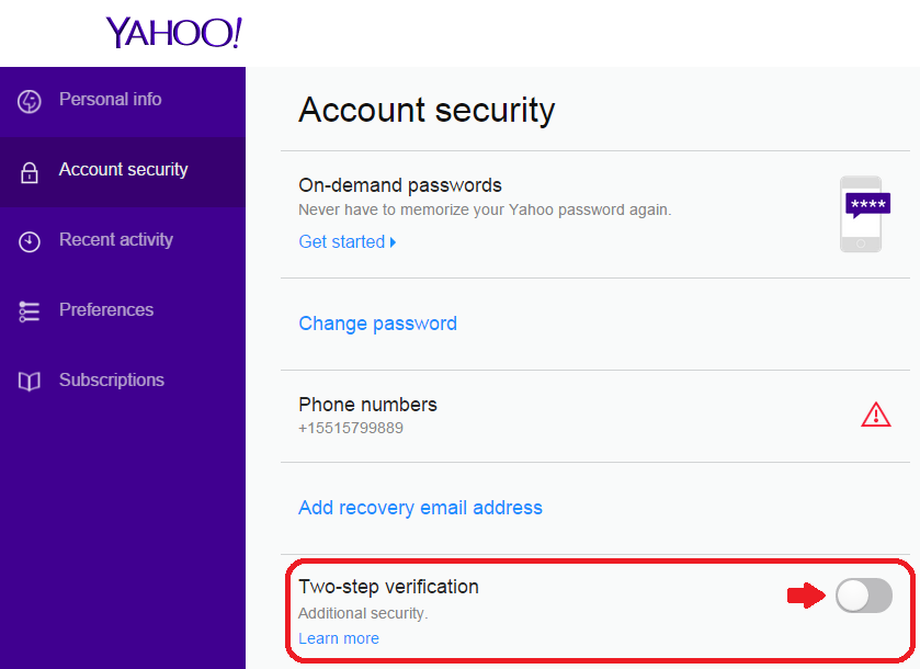 Yahoo Two-Step Verification
