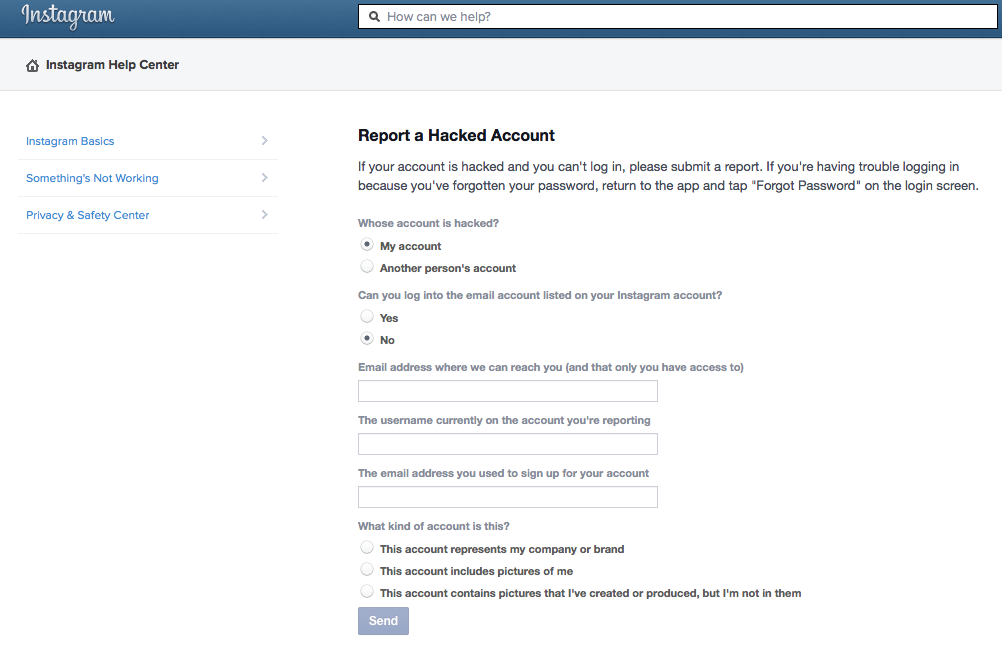Instagram Report a Hacked Account Form