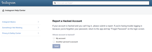 Instagram Report a Hacked Account