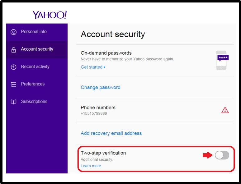 yahoo Two-Factor Authentication