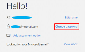change microsoft password