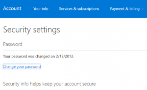 security settings microsoft