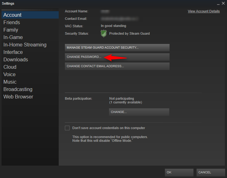 "Click on ""Change Password"" - Steam account hacked"