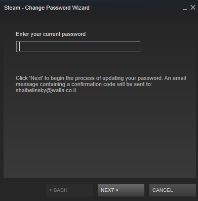 Insert your previous password - Steam account hacked