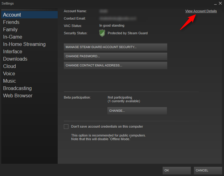 "Click on ""View Account Details"" - Steam account hacked"