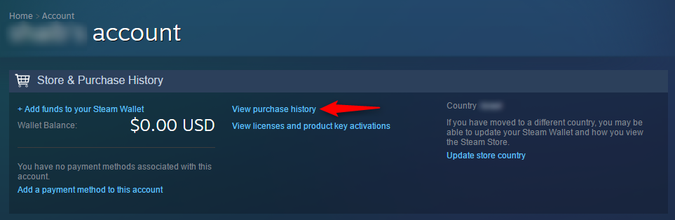 "Click on ""View purchase history"" - Steam account hacked"