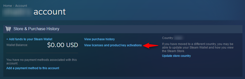 "Click on ""View licenses and product key activations"" - Steam account hacked"