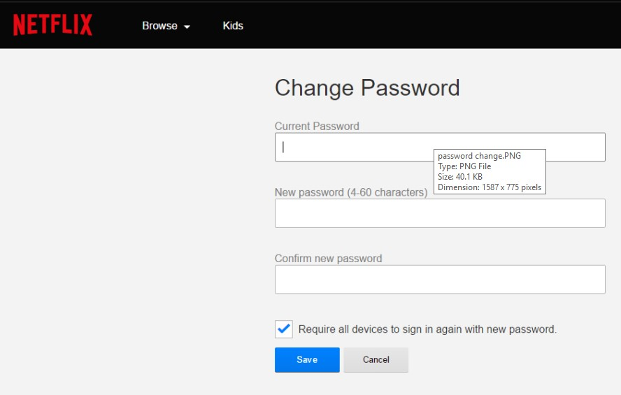 How to change password in Netflix
