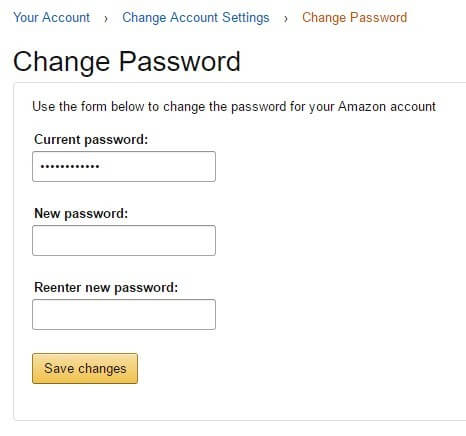 change password screen - amazon