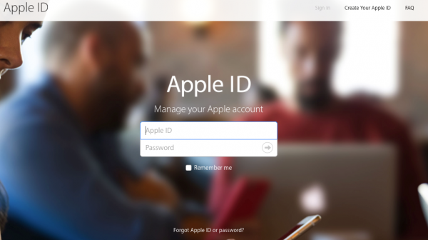 Login Screen - Apple ID account hacked.