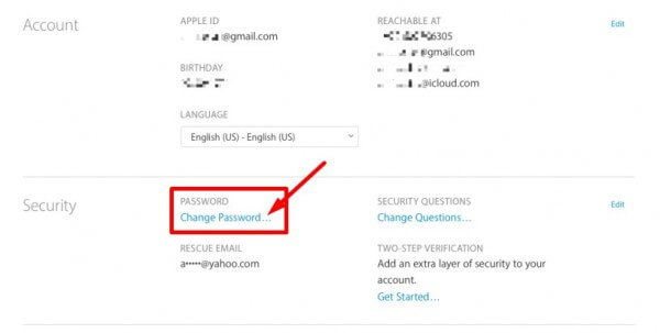 change password - apple id hacked