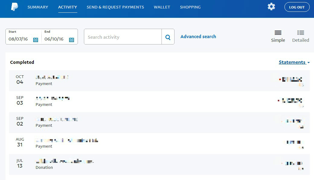 review activity - paypal account hacked