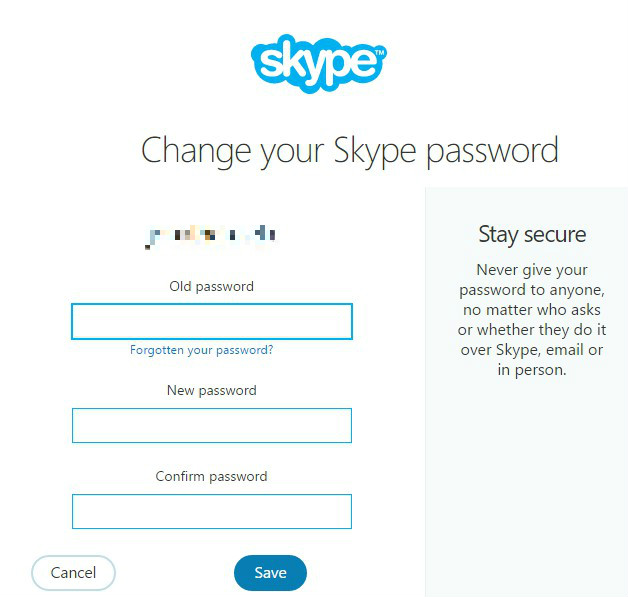 Change password - Skype account hacked