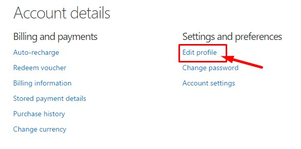 Edit profile - Skype account hacked