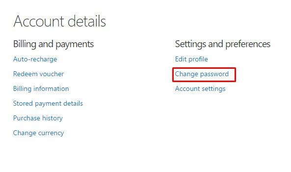 change password - my Skype account